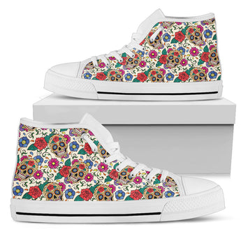 Flower Sugar Skull High Tops