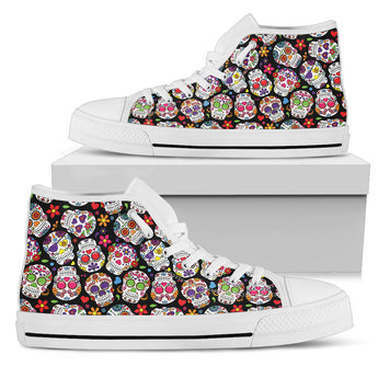 Colorful Sugar Skull II High Top Shoes