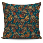 Green Roses Skull Pillow Cover