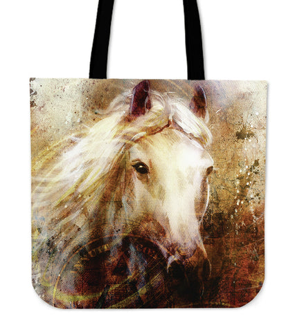 White Horse Cloth Tote Bag