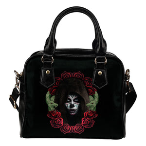Sugar Skull Wreath Shoulder Handbag - Hello Moa