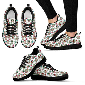 White & Green Sugar Skull Sneakers - Hello Moa