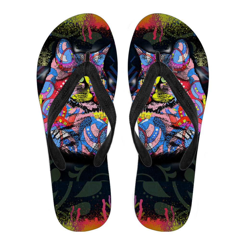 Surreal Cat Flip Flops - Hello Moa