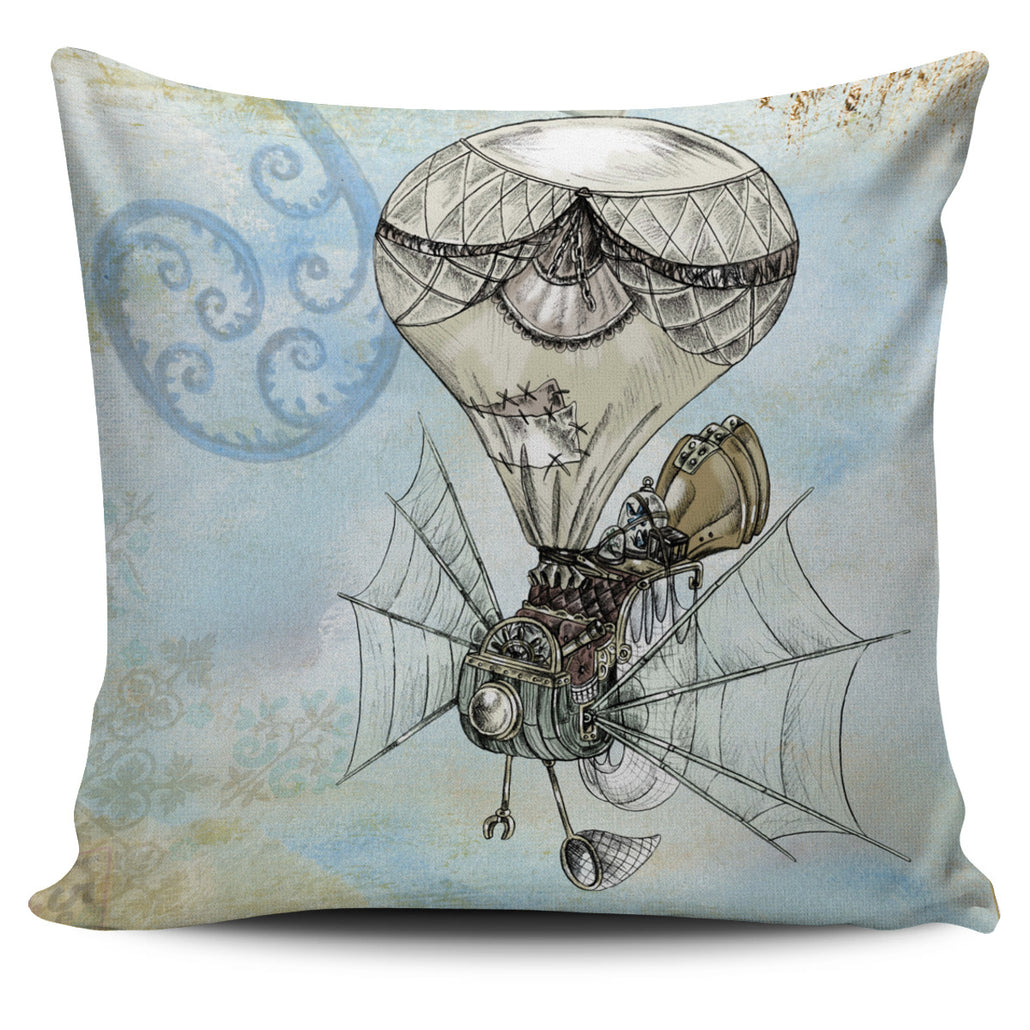 Steampunk Plane Pillow Cover