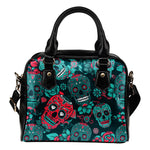 Green Sugar Skull Shoulder Handbag