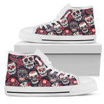 Red & White Sugar Skull High Top Shoes - Hello Moa