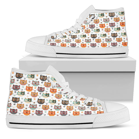 Cats With Glasses Canvas Shoes