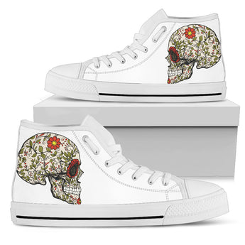 White Sugar Skull II High Top Shoes