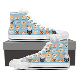 Blue Cat Faces High Tops (Women's) - Hello Moa