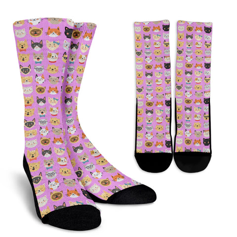 Cat Faces Socks (Pink)