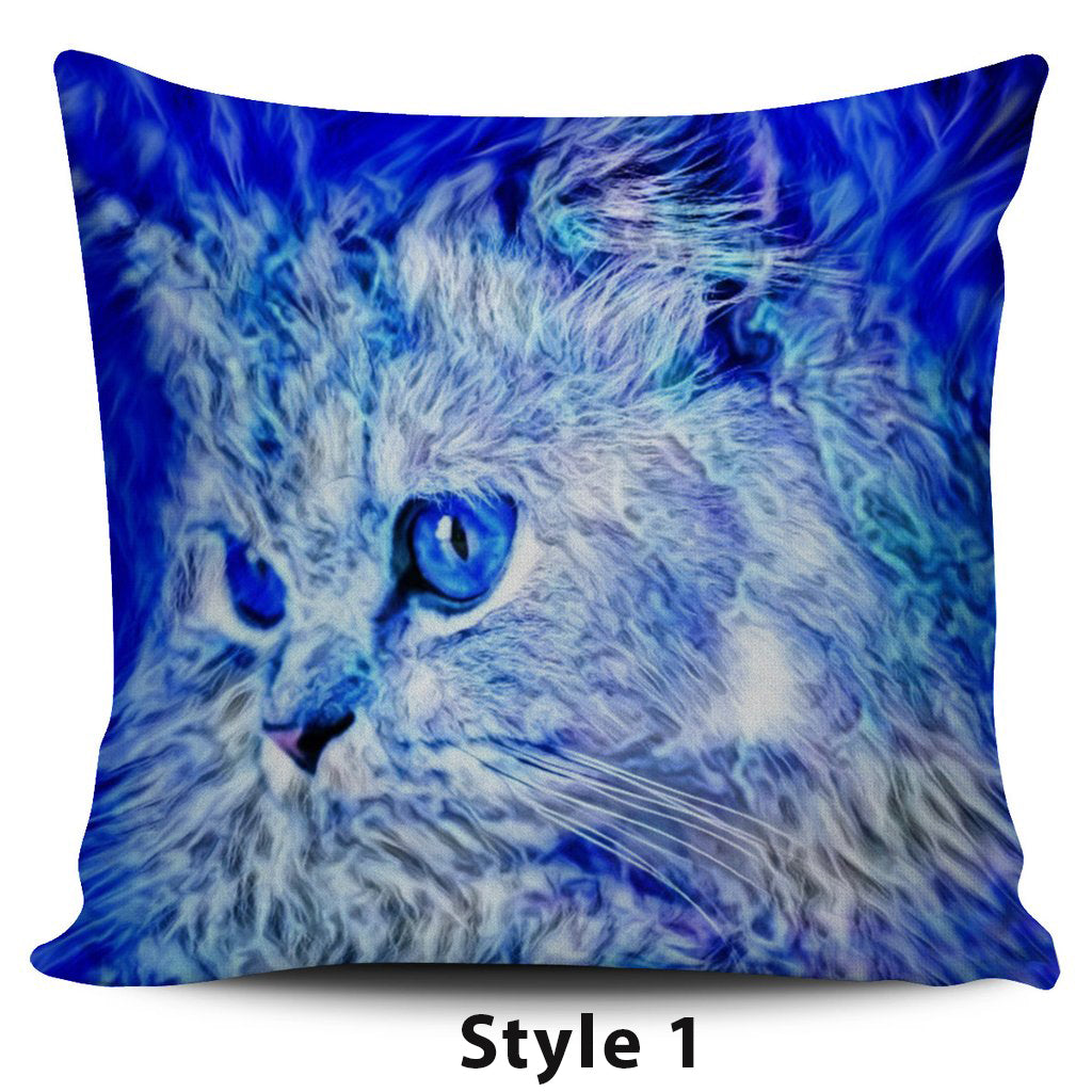 Blue Cat Pillow Covers