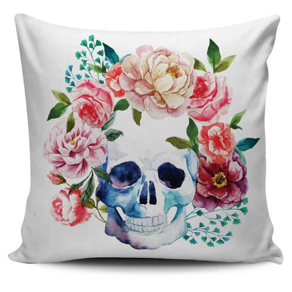 Floral Skull Pillow Cover