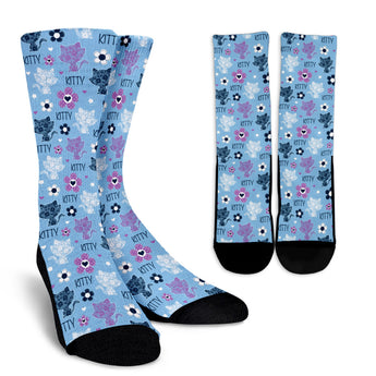 Blue Kitten Socks