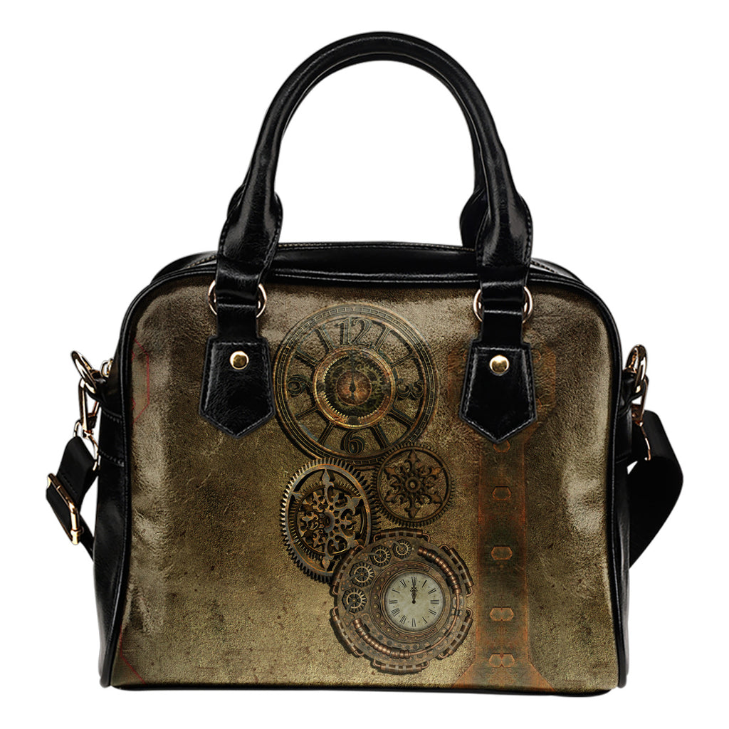 Brass Clock Shoulder Handbag