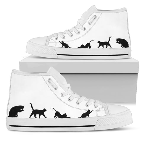 Black & White Cat High Cut Shoes