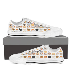 White Cat Faces Low Tops (Women's) - Hello Moa