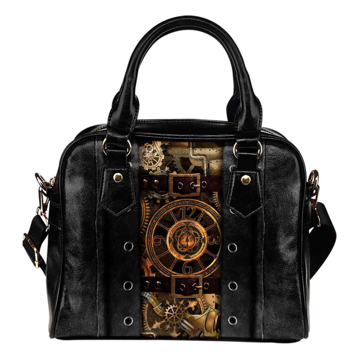 Black Steampunk II Shoulder Handbag