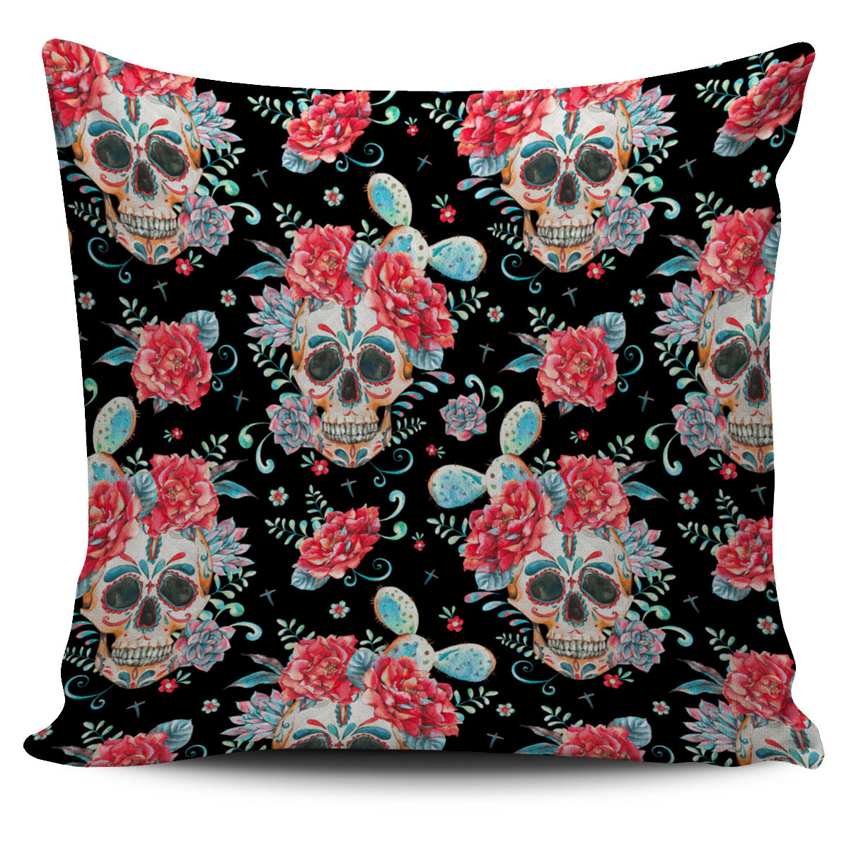 Black Red Skull Pillow Cover
