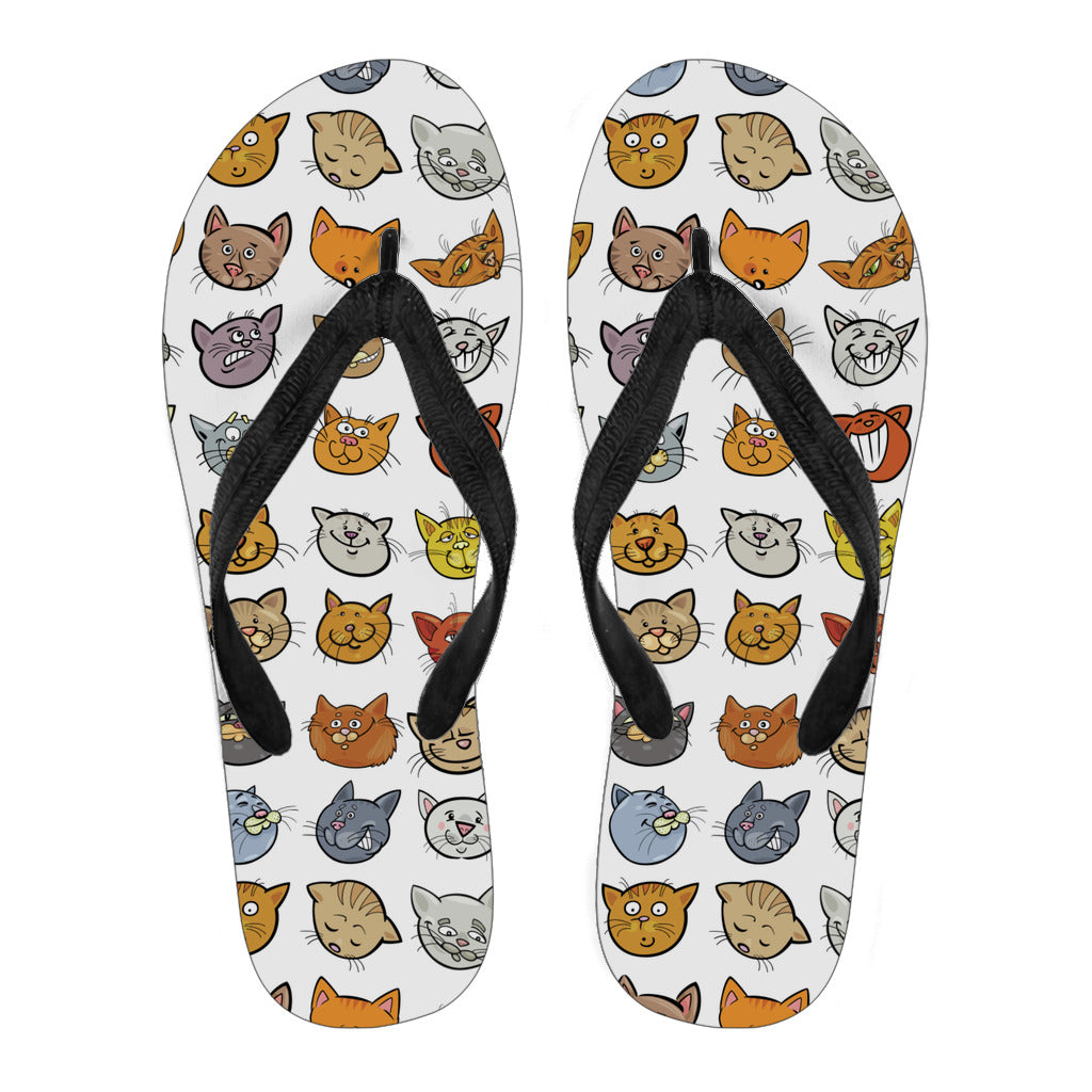 Cat Faces Flip Flops