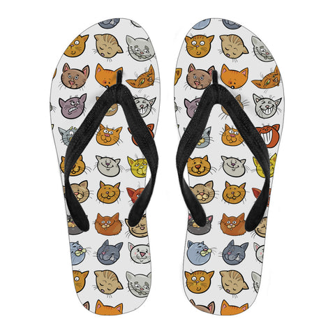 Image of Cat Faces Flip Flops