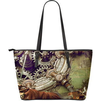 Steampunk Gears Leather Tote Bag