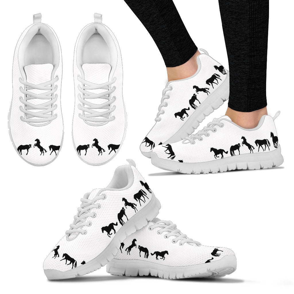 Black & White Horse Sneakers - Hello Moa