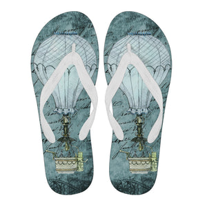 Steampunk Blue Balloon Flip Flops