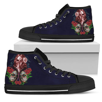 Purple Sugar Skull High Top Shoes