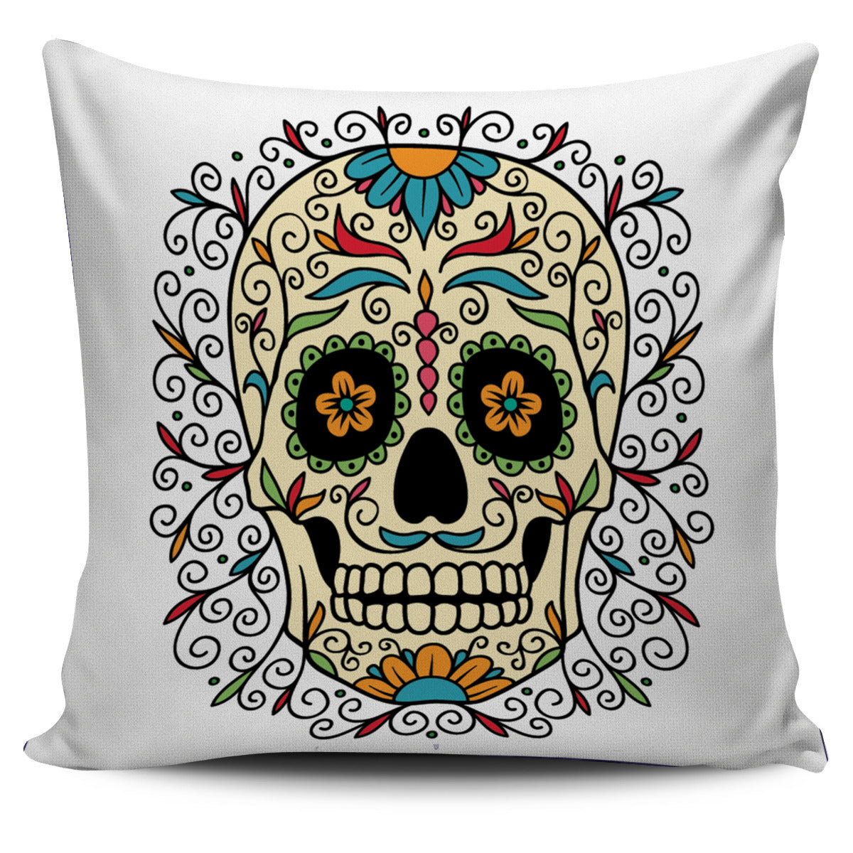 Flower Skull Pillow Cover