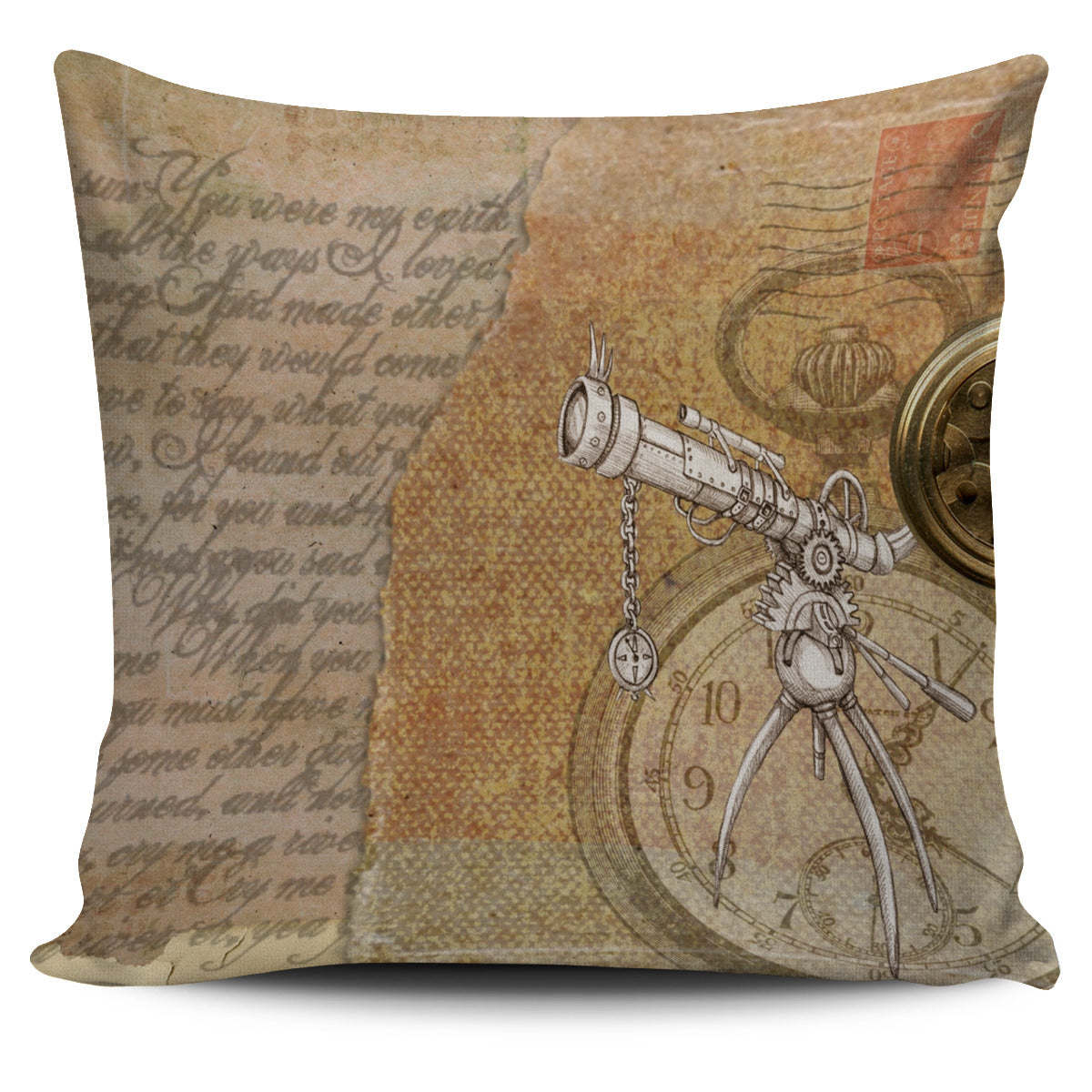 Steampunk Scope Pillow Cover - Hello Moa