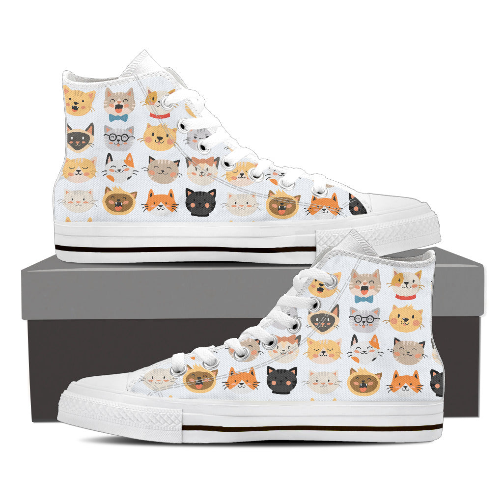 White Cat Faces High Tops (Women's)