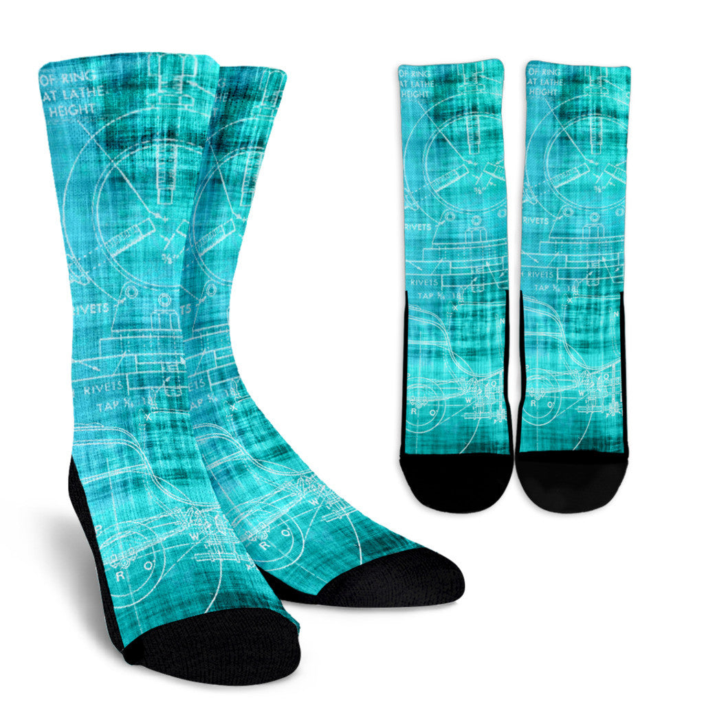 Blue Steampunk Socks