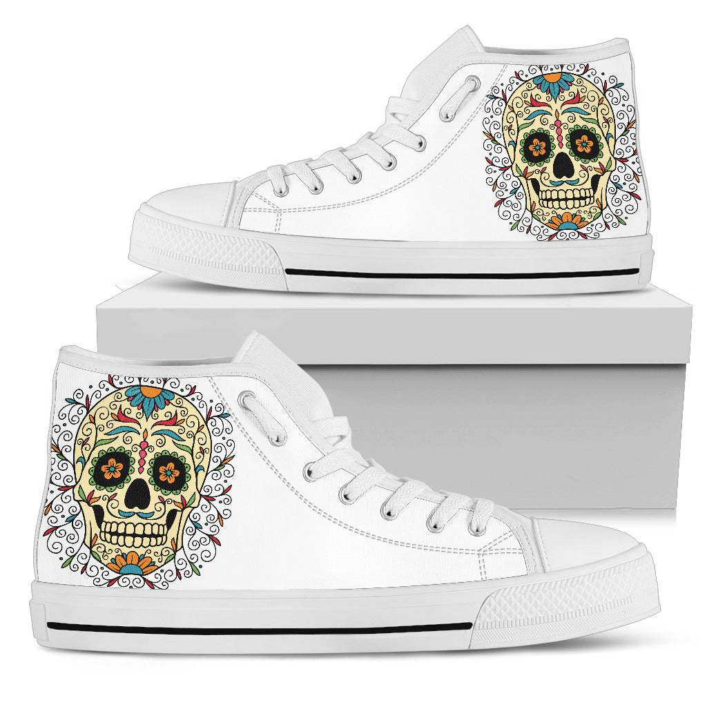 White Sugar Skull Hip Top Shoes - Hello Moa