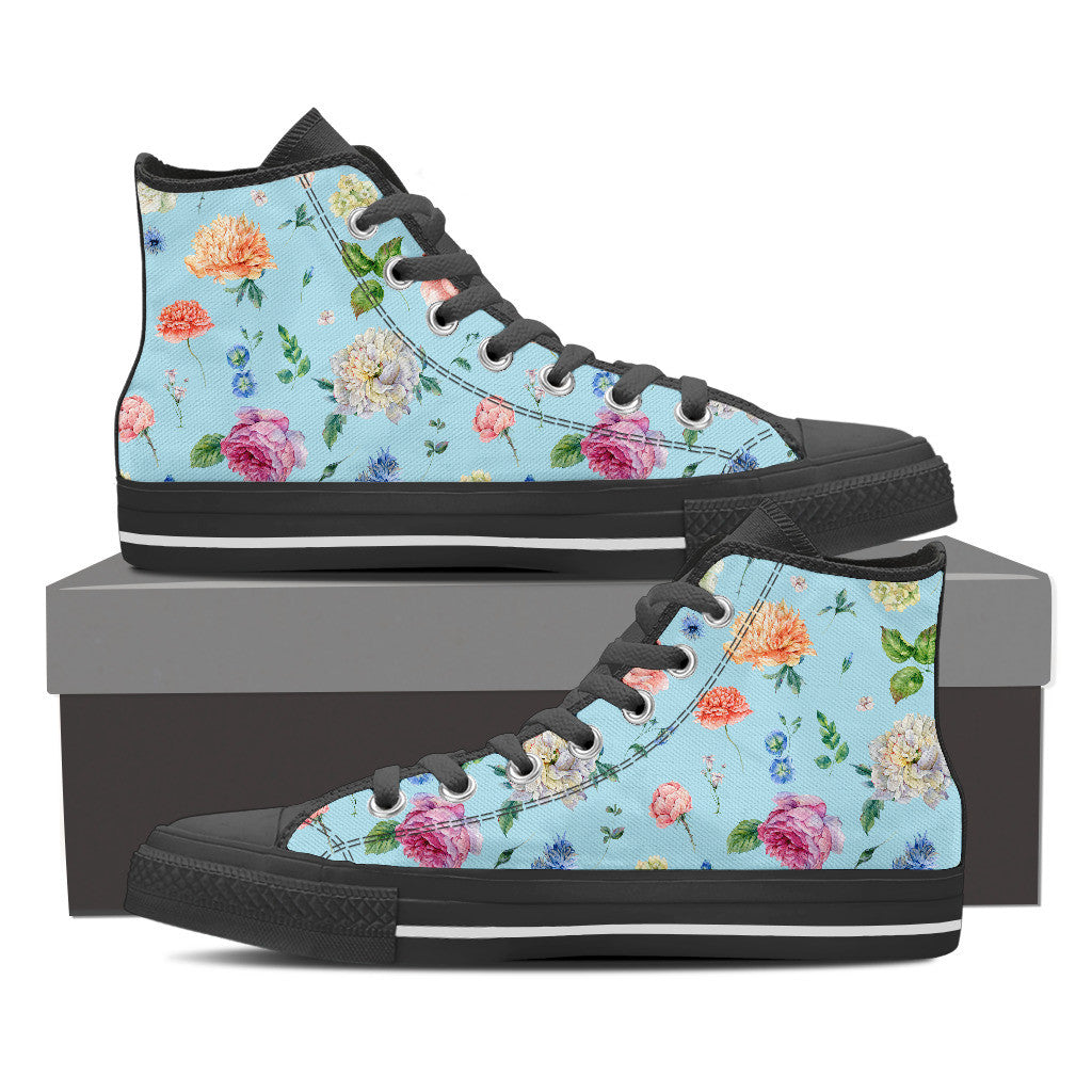 Blue Flower High Tops - Hello Moa