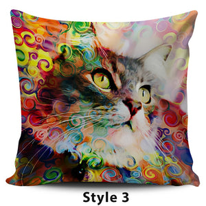 Colorful Cat Pillow Covers - Hello Moa