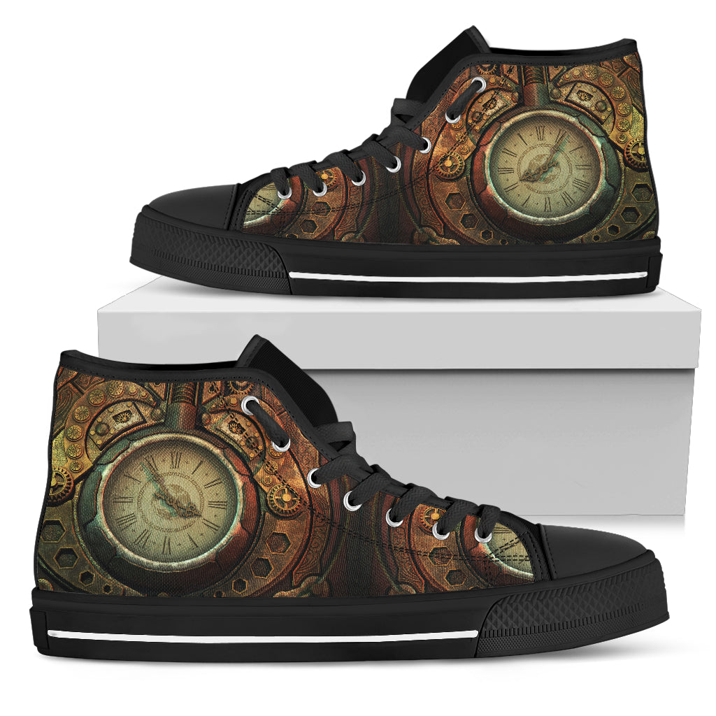 Piston Clock Steampunk High Cut Shoes