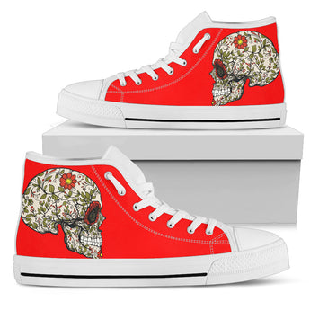Red Sugar Skull II High Top Shoes