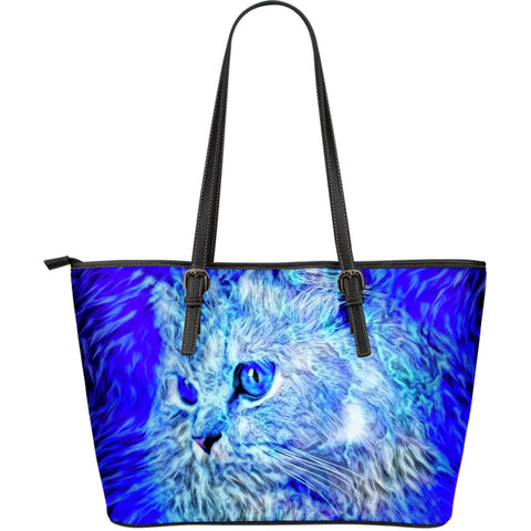 Image of Blue Cat Leather Tote Bag