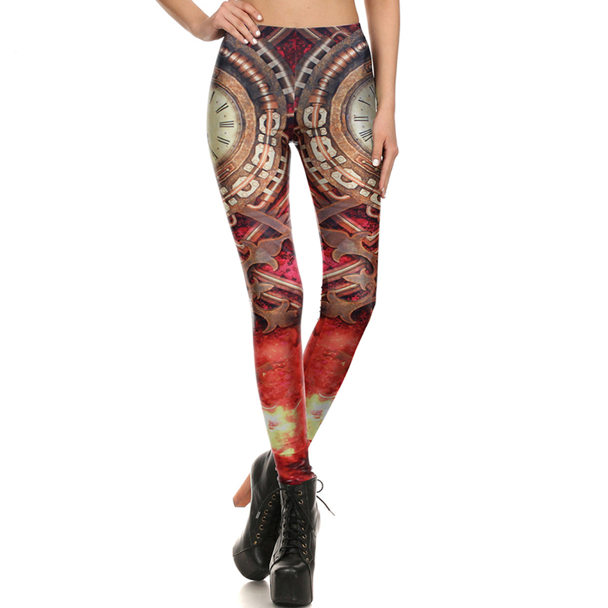 Steampunk Gold Clock Leggings