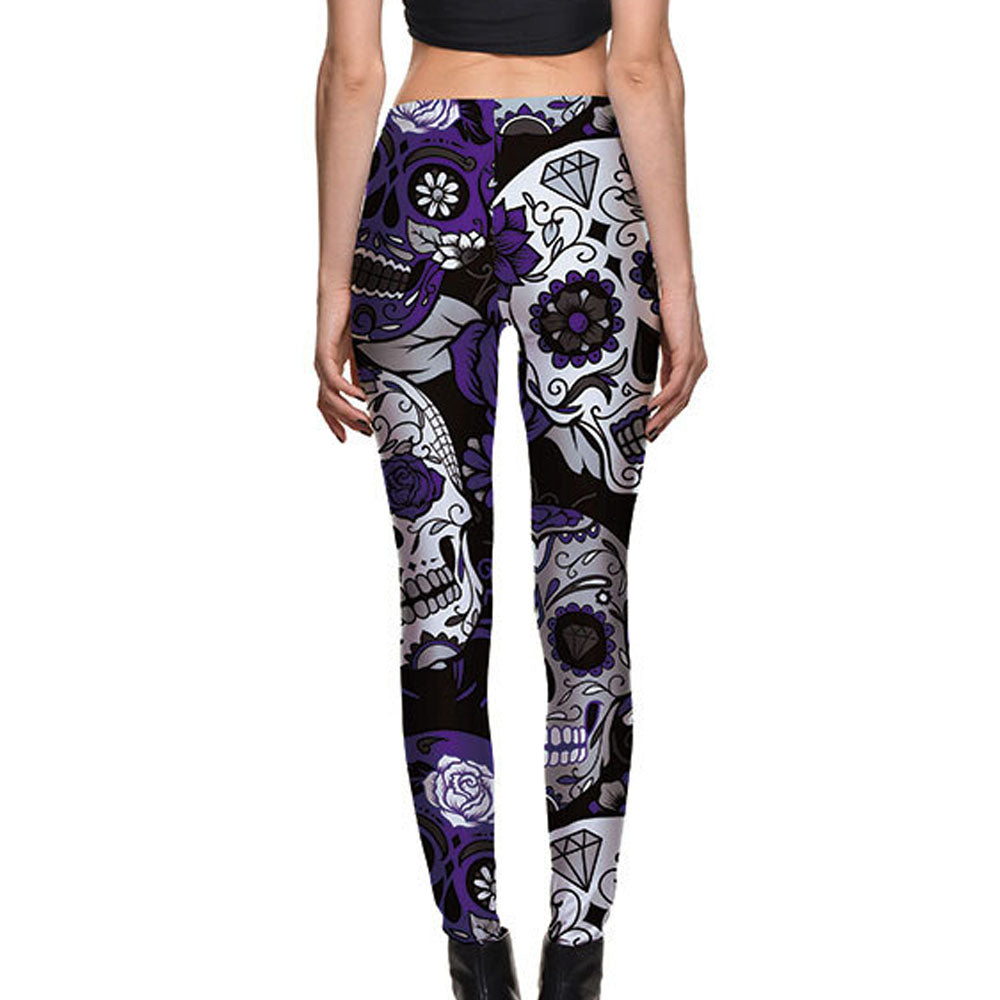 Purple & White Sugar Skull Leggings - Hello Moa