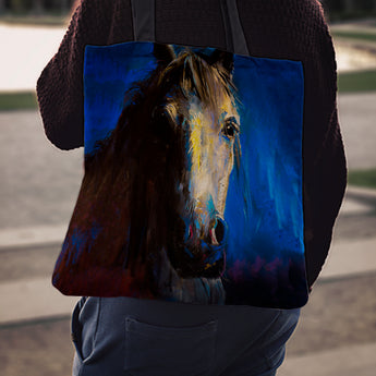 Blue Horse Face Cloth Tote Bag