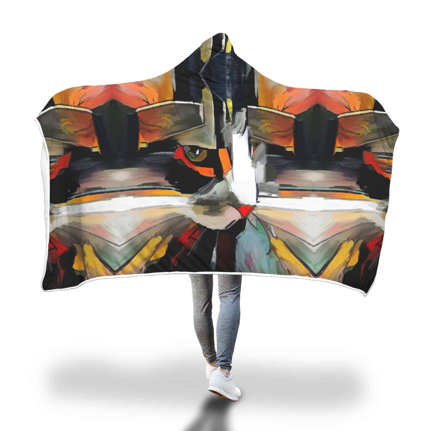 Art Cat Hooded Blanket