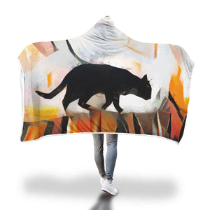 Cat on Roof Hooded Blanket - Hello Moa