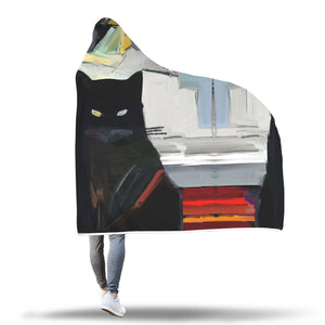 Black Cat Art Hooded Blanket