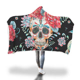 Black Flower Skull Hooded Blanket