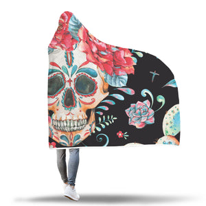 Black Flower Skull Hooded Blanket - Hello Moa