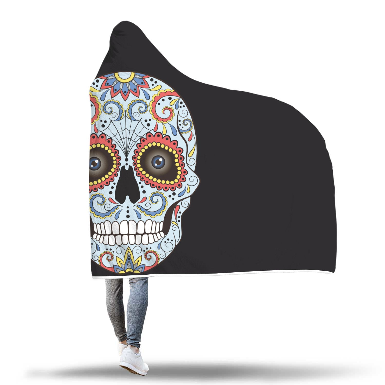 Blue Sugar Skull Hooded Blanket