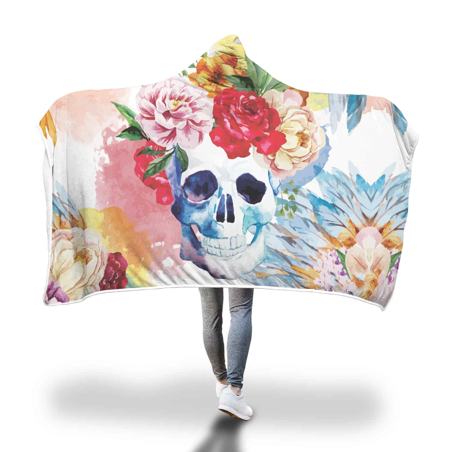 Flower Skull Hooded Blanket - Hello Moa