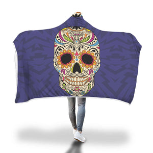 Purple Sugar Skull Hooded Blanket - Hello Moa