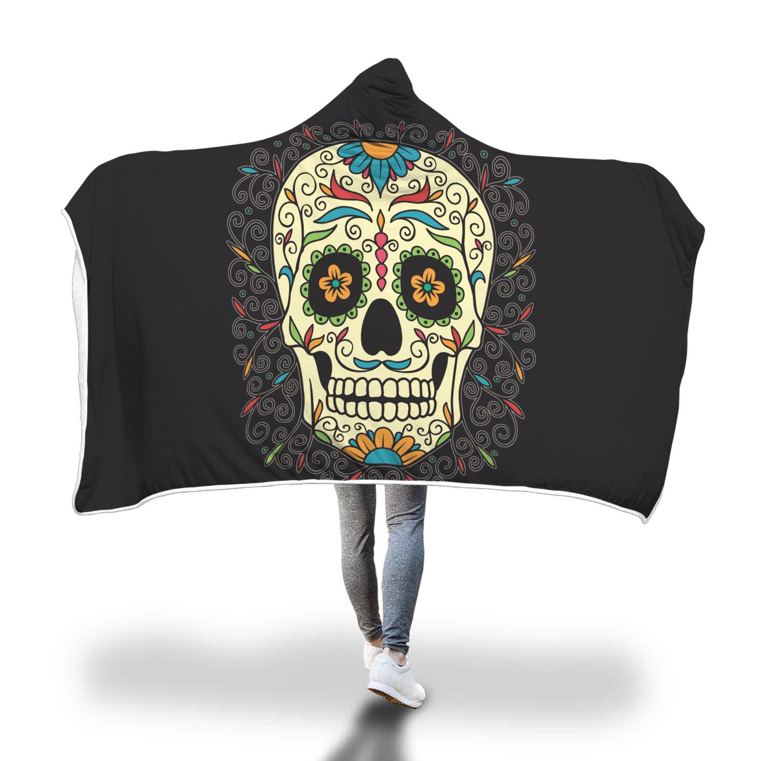 Sugar Skull III Hooded Blanket - Hello Moa
